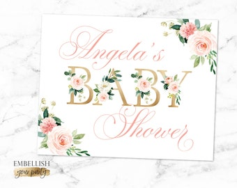 Welcome Baby Shower Sign - Floral Baby Shower - Blush Pink Flowers Gold Sign | Boho Baby Shower Decor - Personalized Sign - Printable File