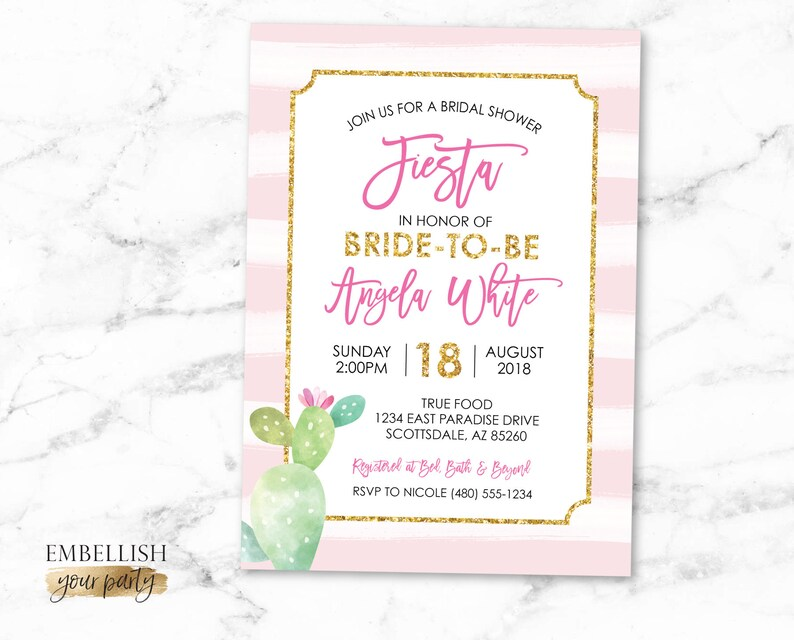 cc24fa44d907 Cactus Bridal Shower Invitation Fiesta Bridal Shower Invite