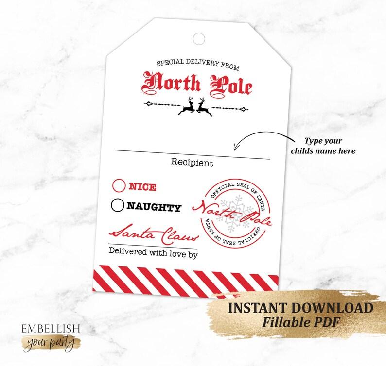 picture relating to Printable Santa Gift Tag known as Customized Santa Reward Tag Printable Santa Reward Tags  Xmas Present Tag North Pole Personalized Tag Quick Obtain Do-it-yourself