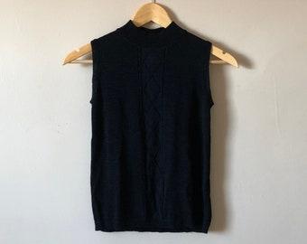 90s Fashion Gallery Black Knit Tank Top