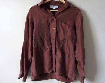 4ef87c7ab3da86 Vintage 80s Brown Silk Oversized Blouse