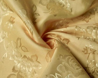 ee4ef5e34 Isabella GOLD Floral Jacquard Brocade Satin Fabric by the Yard - Style 3000