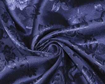 755c9602e Isabella NAVY Floral Jacquard Brocade Satin Fabric by the Yard - Style 3000