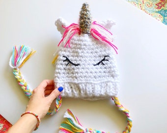 636c80683e8 Rainbow unicorn hat kids    knit child unicorn girl hat rainbow mane     unicorn sparkle horn