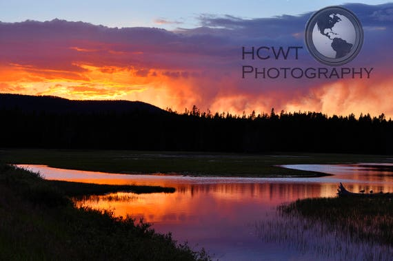 Mounted digital photographic print (Sunset Over Yellowstone)