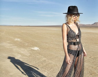 05378feb82847 Rave wear Mesh Sequins Dress Burning Man Festival Edm Edc Party Costume  Coachella