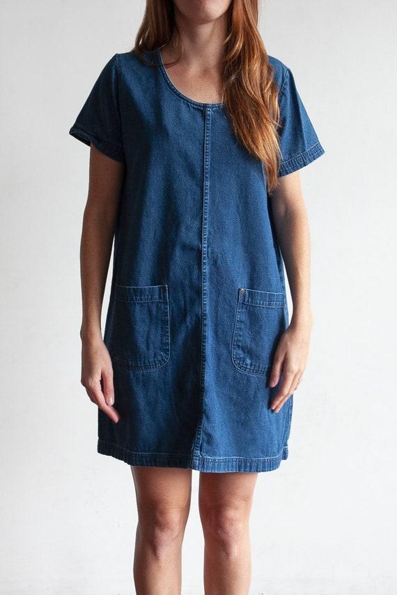 Vintage Denim Mini Chore Utility Dress with Pocket