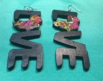 Ankara quilted LOVE Africa Earrings