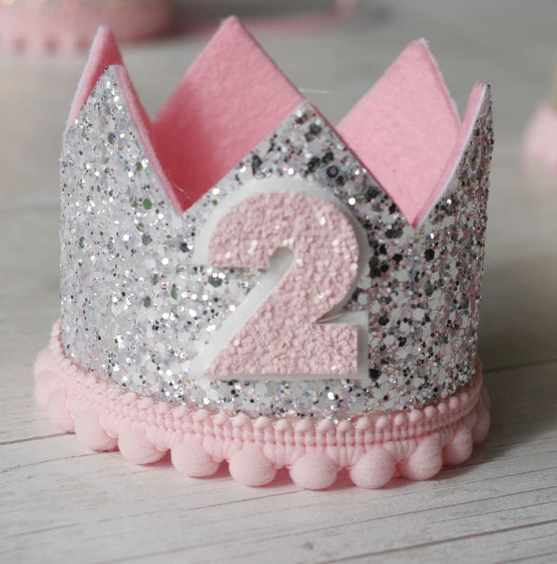 Sparkling Silver And Pink Birthday Crown 1st 2nd