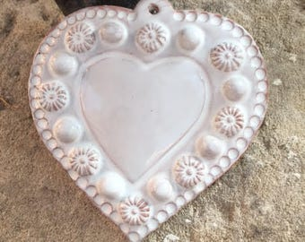 Ex voto/heart to hang, flowers, pearls and heart