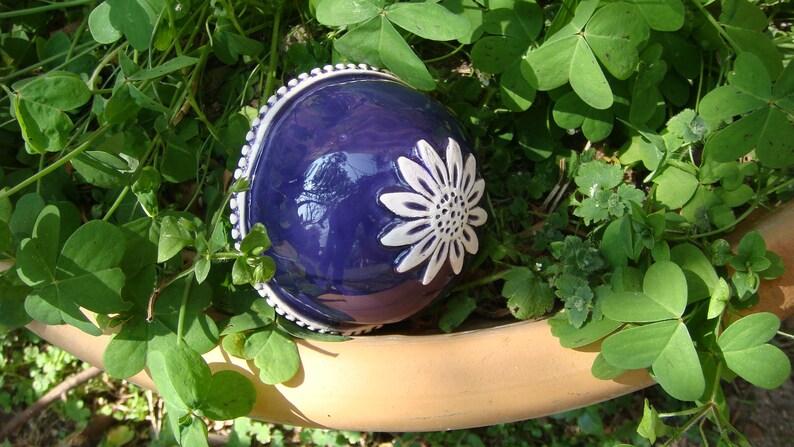 glazed purple Decorative ball made of white clay