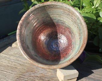 Copper Penny Lustre Raku Pot