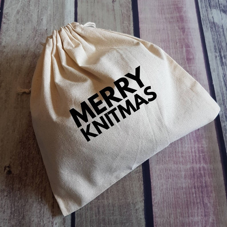 Drawstring Project Bag Merry Knitmas Craft Bag Gifts for Knitters