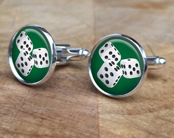 DICE CUFFLINKS  Green Blue or Red  Lucky 7  Gift for Him  Unique Gift  Upcycled   Cool cufflinks  Unique cufflinks  Neat Cuff links