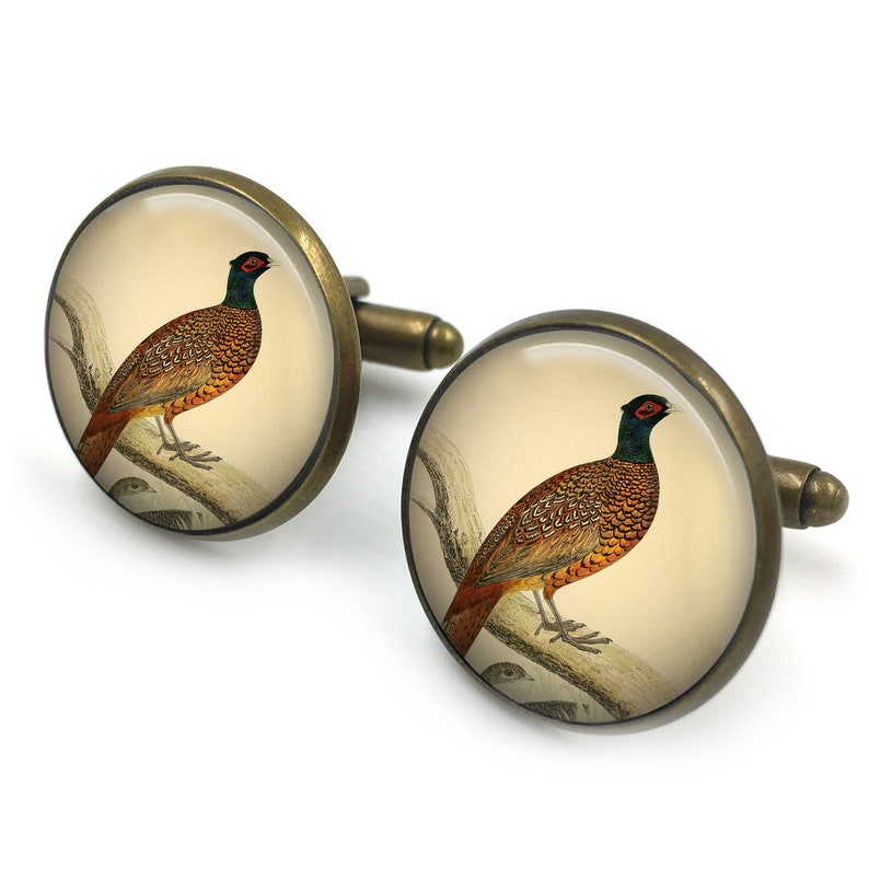 b686b6b810b0 Pheasant Cufflinks Game Pheasants Gift for Him Gift for | Etsy