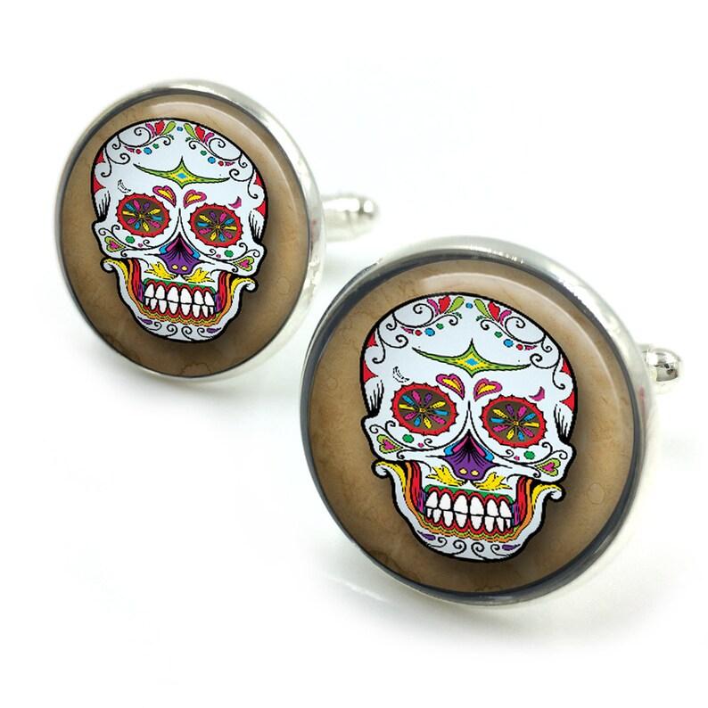 day of the dead Sugar Skull Cufflinks dia de los muertos skull cuff links 7
