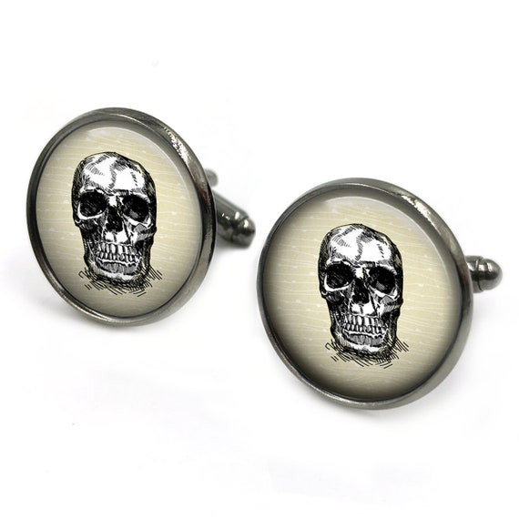 gift for men skull 3 steampunk jewelry steampunk cuff links gift for him day of the dead skulls cuff links Steampunk  Cufflinks