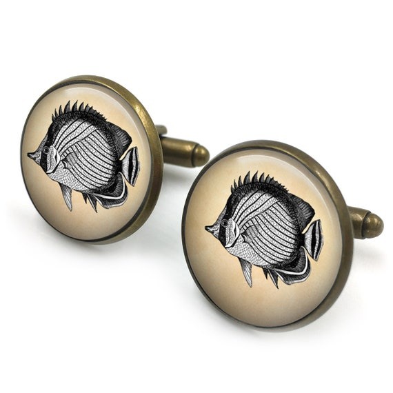 nautical gift for him sealife  cufflinks Vintage Fish Cufflinks cuff links groomsmen gift fishes jewelry gift for men
