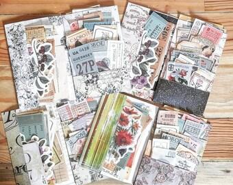 Pack 80 ephemeras, junk journal, vintage tickets