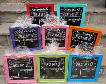 First day of school reusable framed chalkboard signs (single sided)-Back to school signs-Kindergarten Signs-Photo Prop