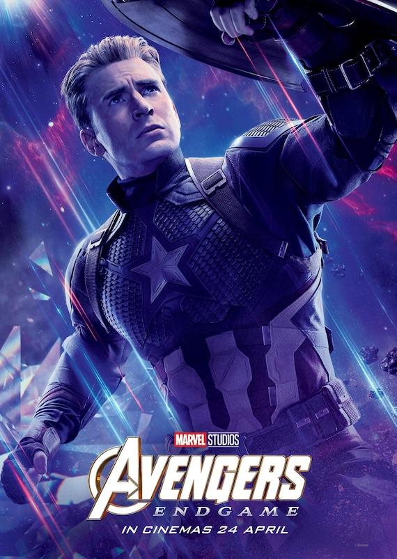 Avengers Endgame 2019 Character Poster Captain America Etsy