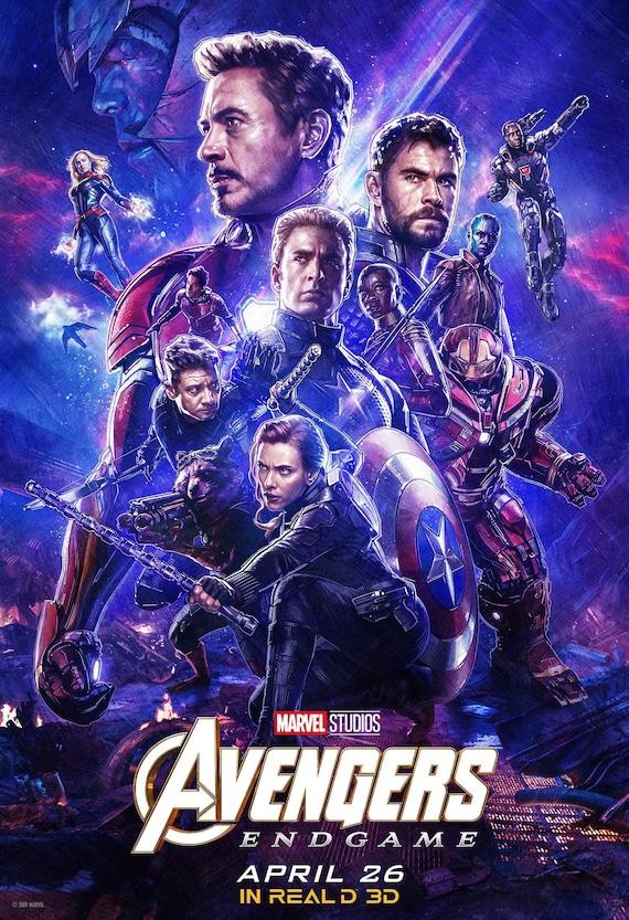 Avengers: Endgame 2019 Real 3D poster Marvel comic movie | Etsy