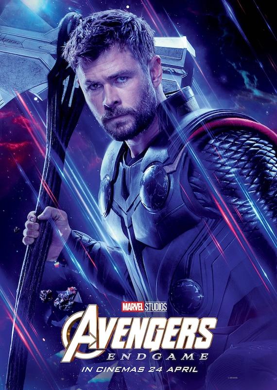 Avengers Endgame 2019 Character Poster Thor International Etsy