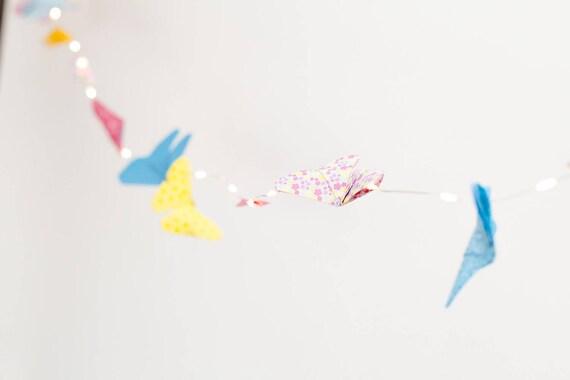 Guirlande lumineuse origami papillons, décoration bébé enfant tout autant  qu\'adulte