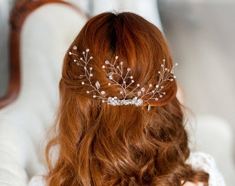 Silver bridal hair comb, bridal decorative comb, wedding hairpiece