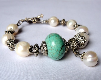 Pearl and turquoise bracelet for women
