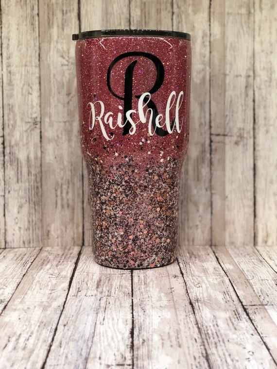 Glitter Tumbler Pink Rose Gold White And Black Two Etsy