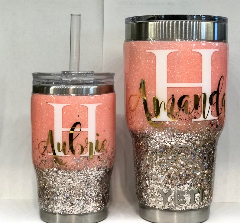 e718a94a5e6 Mommy and Me Stainless Steel Tumbler Set - Personalize - Glitter Tumbler -  Customize - with Straw - Pink and Gold Glitter - Yeti - Dipped