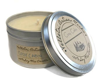 Cozy Cabin | Eco Friendly Soy Wax | Best Scented Candles | Scented  Soy Candles |  Soy Candle Wax | Homemade Candles | Winter Candles | 8 oz