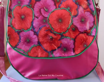 Pink faux leather pattern poppy bag