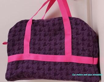Bowling handbag purple canvas Rooster pattern.