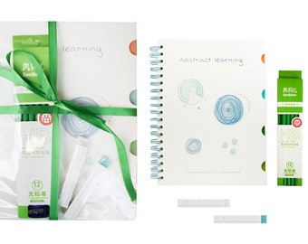 Stationery Gift Set with Notebook Pencil Eraser - Green Bow