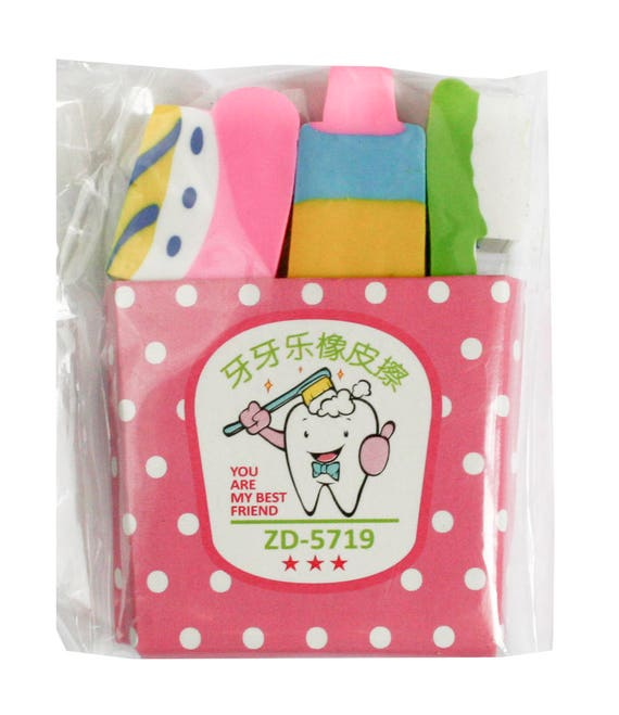 FUNNY CUTE RUBBER PENCIL ERASER SET NOVELTY CHILDREN PARTY GIFT PK OF 4 /& 8