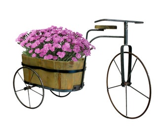 Shabby Chic Tricycle Planter Stand Basket Metal Bicycle Garden Bike Flower Pot