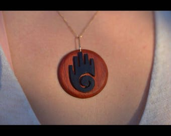Pendant Native American ebony and padauk wood