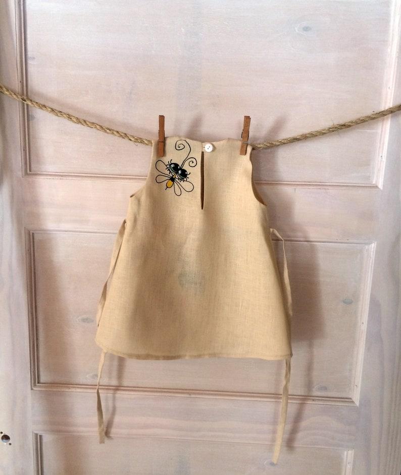 Girls linen dress Woodland dress girls Cottagecore hand painted organic baby clothes