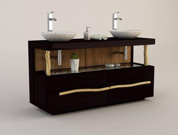 meuble teck salle de bain liane double vasque 140 cm