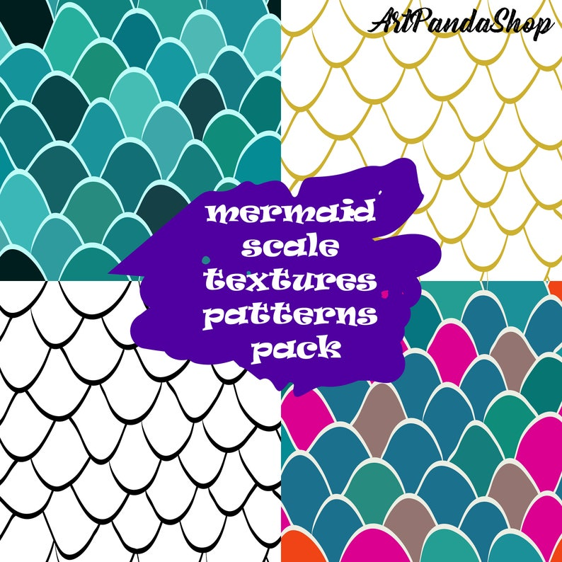 Mermaid Scales Fish Scales Digital paper Fish scale pattern Mermaid pattern  Maritime scrapbook Seamless patterns Dragon scale wall art