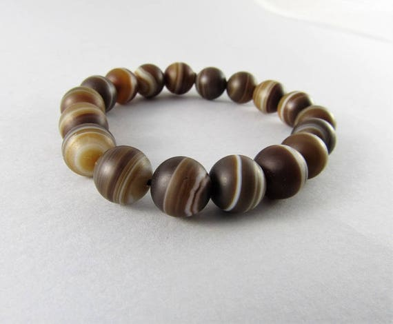 Natural chinese agate beads bracelet. Adjustable b