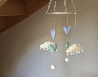 Mobile nursery baby/toddler felt hearts felt and fabric / pattern blue