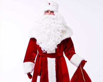 1d35e329bd73f Santa Claus suit (Russian Ded Moroz outfit) adult, dark red color, high  quality made +gift (US style hat)