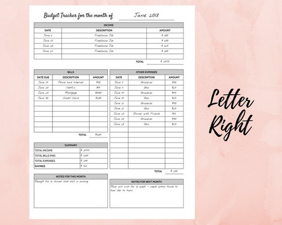 a simple monthly budget planner printable inserts for a5 a4 etsy