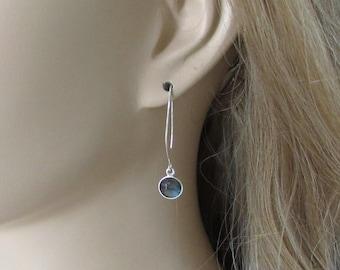 Labradorite Earrings  925 Sterling Silver Long Earwire