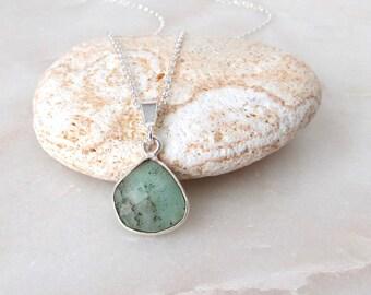 Chrysoprase Stone Pendant .925 Sterling Silver Necklace