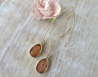 Druzy Earrings Peach Druzy Drop Long Gold Earwire