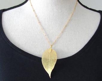 Real Leaf Necklace Small Gold Natural Leaf
